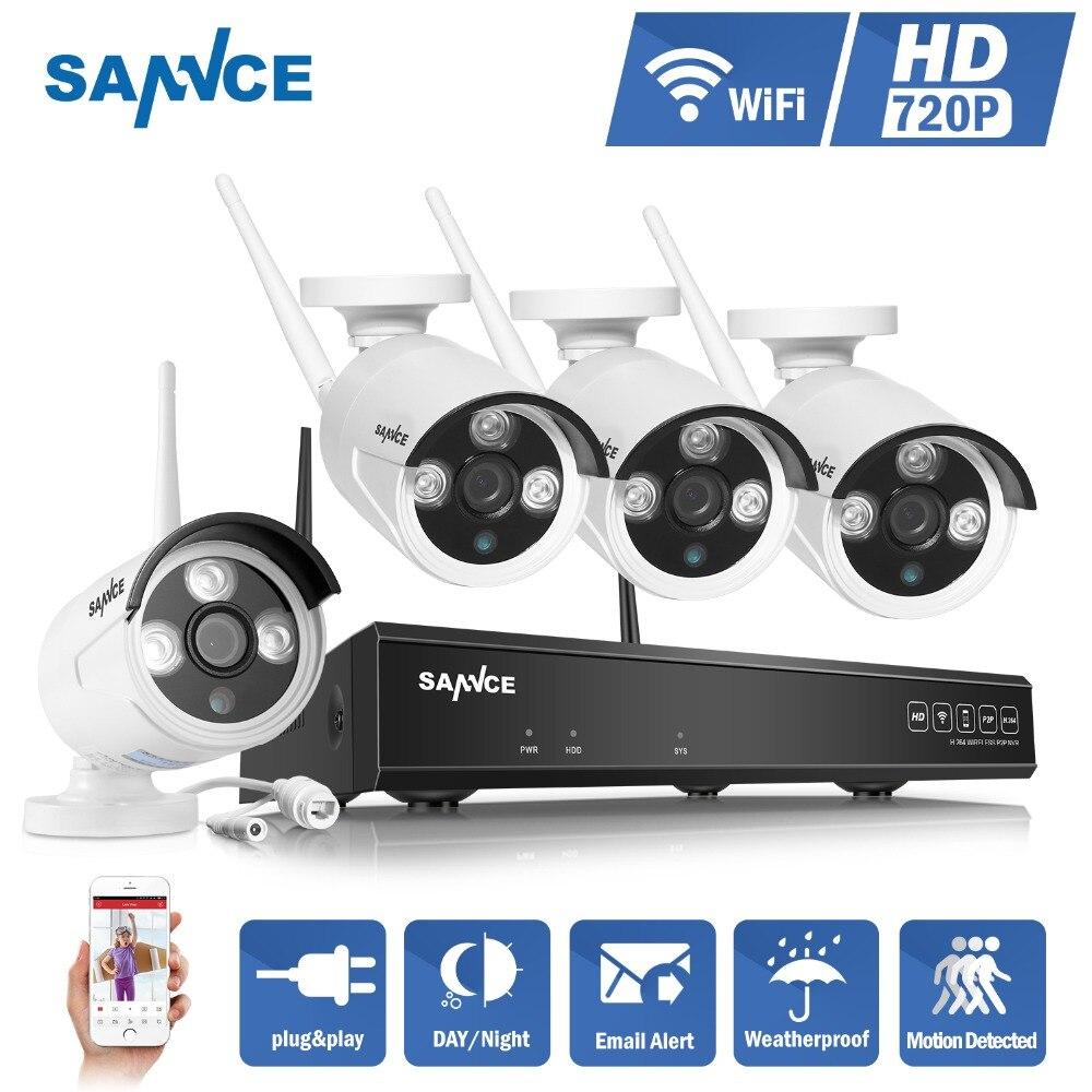 SANNCE NVR kits 4CH IR HD de Sécurité À Domicile Sans Fil NVR Kits IP Caméra 720 p CCTV Ensemble Wifi Caméras Vidéo NVR Système de Surveillance