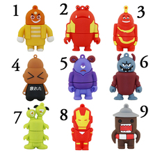 Super Hero Iron Man Insect Domo Kun Frog USB 2.0 Flash Drive/U Disk/Creativo Pendrive/Memory Stick/Disk Gift