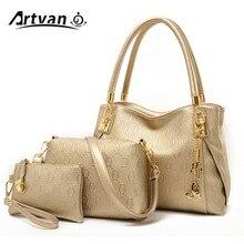 العلامة التجارية النساء بولي PU حقائب يد جلدية موضة المرأة حقيبة ساع السيدات عادية حمل الحقائب الصلبة بولسا الأنثوية جديد 3 مجموعة LH25