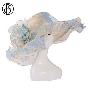 Image 5 - Sombreros de Organza para el sol para mujer, sombreros rosas del Derby de Kentucky, flores, ala ancha, sombreros para iglesia, boda, color rosa, 2019