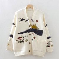 Autumn Winter Cartoon Patterned Long Sleeve Knitwear 2019 Loose V Neck Cardigan