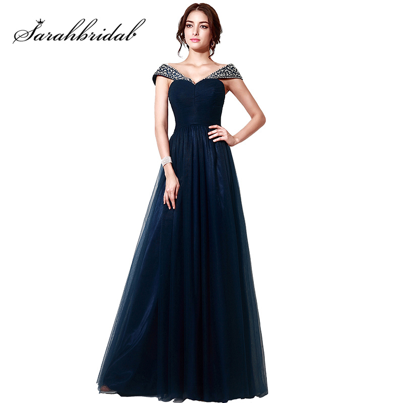 Hot Navy Blue Tulle Ladies   Prom     Dresses   A-Line Beading Crystal Cap Sleeve Evening Gowns vestidos de fiesta largo In Stock SD204