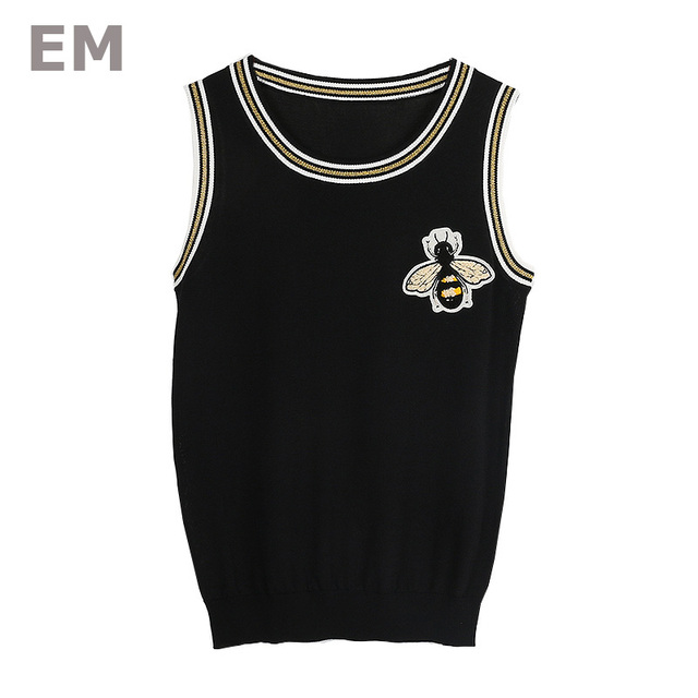 Ehmaxrth Korean Style Casual Summer Vest 2018 Bee Pattern Embroidery