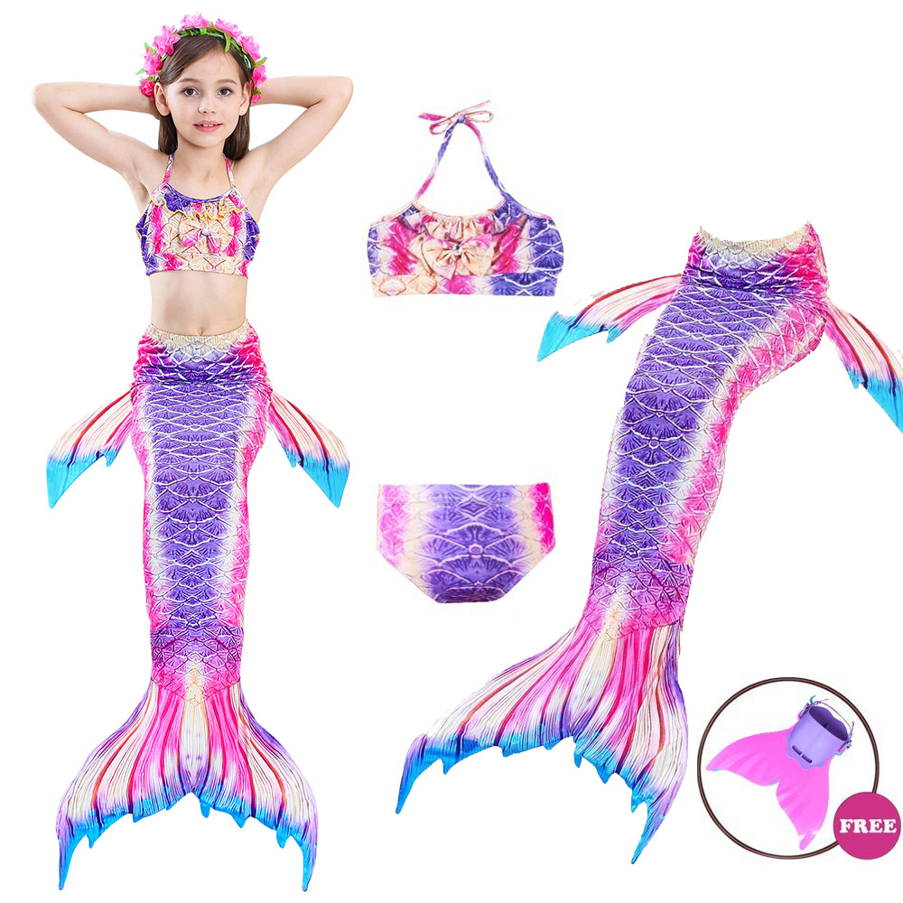 Summer Newest 4PCS/Set Children Swimming Mermaid Tails With Monofin Bikinis Set Swimsuit Mermaid Tail Cosplay Costume Girls Gift