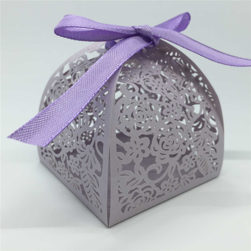 Bridal shower party supplies - 20pcs Candy Box Romantic Purple Delicate Carved Flower Candy Boxes With Ribbons For Party Banquet Kindergarten Bridal Shower