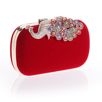Korean Dinner Package Happy Peacock Colorful Flannelette Latest Fashion Package Ruili Fashion Woman Package Banquet Bag