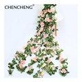 CHENCHENG 220 см 10 головок Свадебные розы Искусственные цветы лоза красный искусственный цветок стена подвесной ротанговый дом украшение для веч...