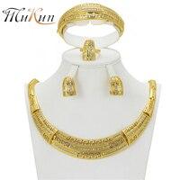 MUKUN großhandel Dubai Schmuck Sets Für Frauen Goldfarbe Afrikanische Perlen Partei Halskette set Feminine charme schmuck zubehör