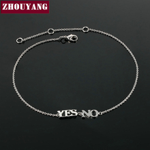 "Top Quality ZYA005 ""YES or NO""  White Gold Plated Anklets Jewelry  Austrian Crystals Wholesale"