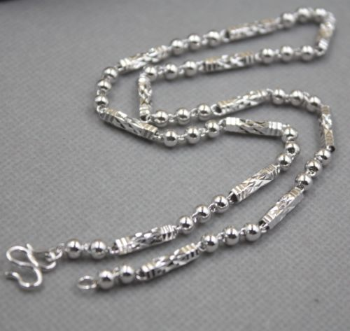 Solid 925 Sterling Silver Tube with Round Bead Link Chain Necklace 18 InchSolid 925 Sterling Silver Tube with Round Bead Link Chain Necklace 18 Inch