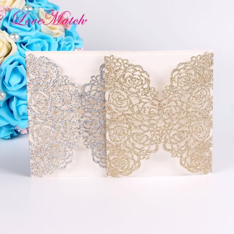 5sets Romantic Laser Cut Flowers Invitation Card Glitter Paper Wedding Invitation Cards Wedding Party Supplies