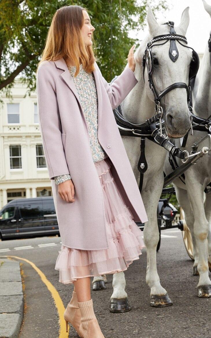 Vero Moda Women's new 100% wool double-sided single buckle minimalist woolen overcoat | 318327505 13
