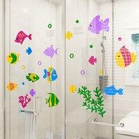 Underwater World Colored Sea Fish Design Wall Sticker DIY Acrylic Stickers for Bathroom Living Room Kindergarten Wall Decoration