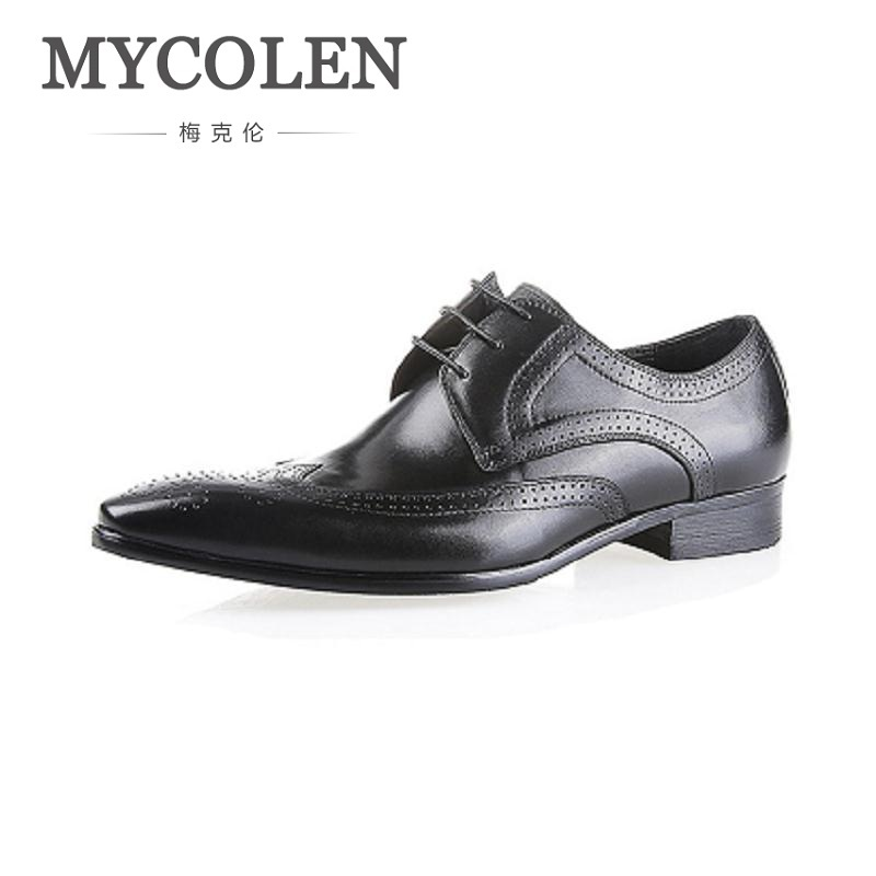 MYCOLEN leather shoes men handmade genuine leather Classic Men's Shoes formal business wedding shoes Sapatos Masculino Couro мужской ремень cinto couro marca