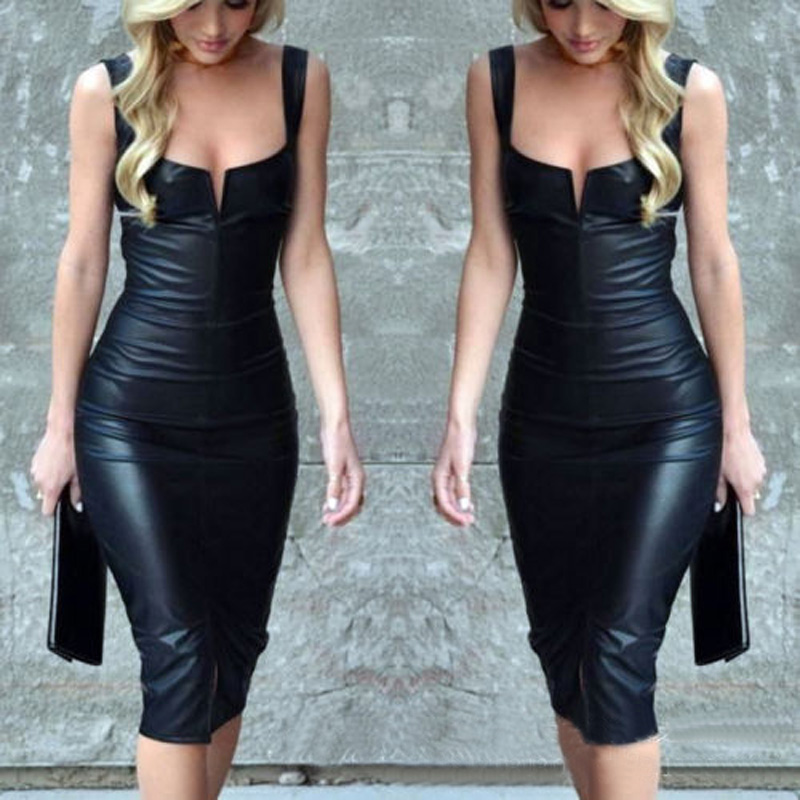 WOMENS LADIES BLACK DRESS PVC WET LOOK FAUX LEATHER BODYCON CELEB SIZE S M L XL ...