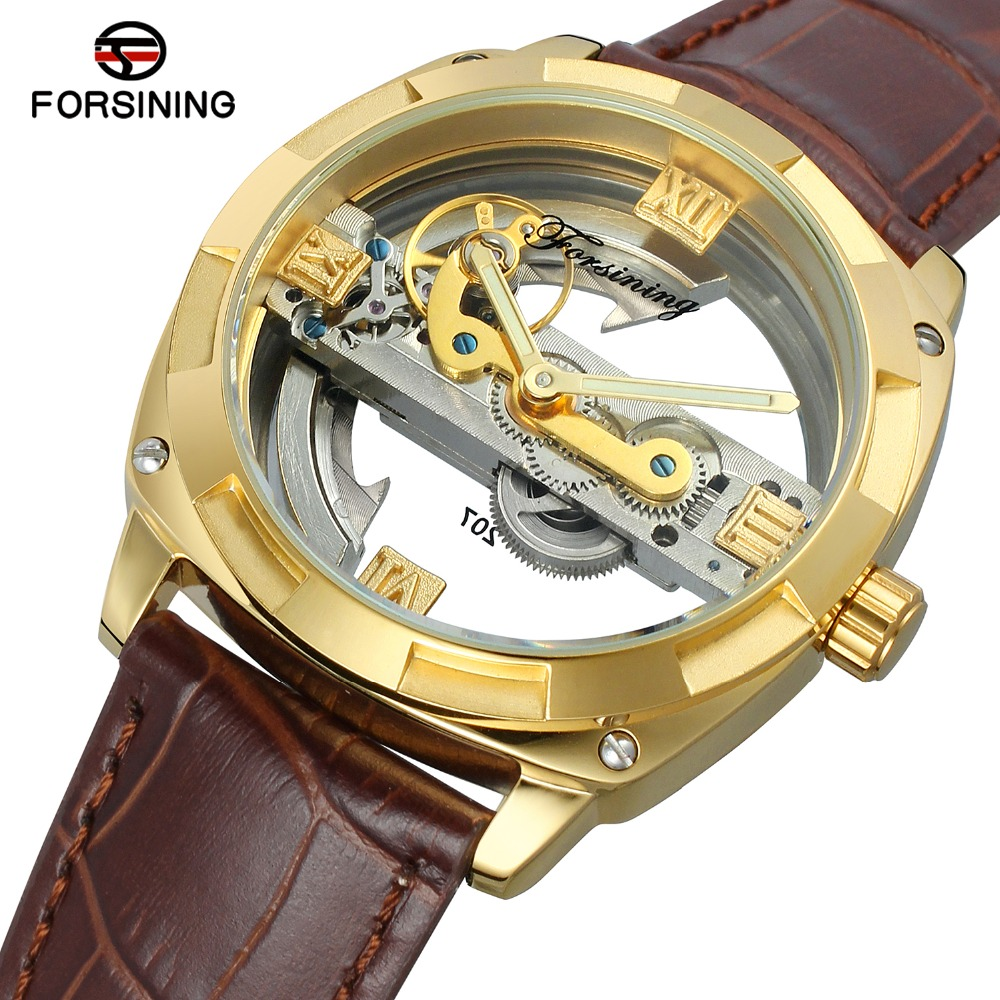 FORSINING Men\'s High Quality Steampunk Automatic Self-winding Skeleton Military Genuine Leather Strap Best Supply Wrist Watch