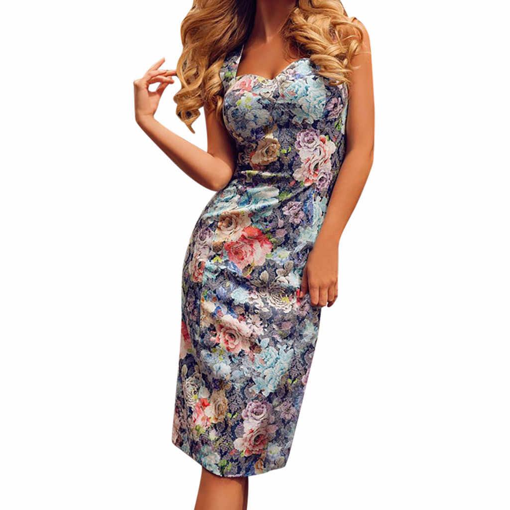 Сексуальное роскошное платье-футляр, женское платье с цветочным принтом, летнее женское пляжное платье без рукавов с круглым вырезом, женский сарафан # G6