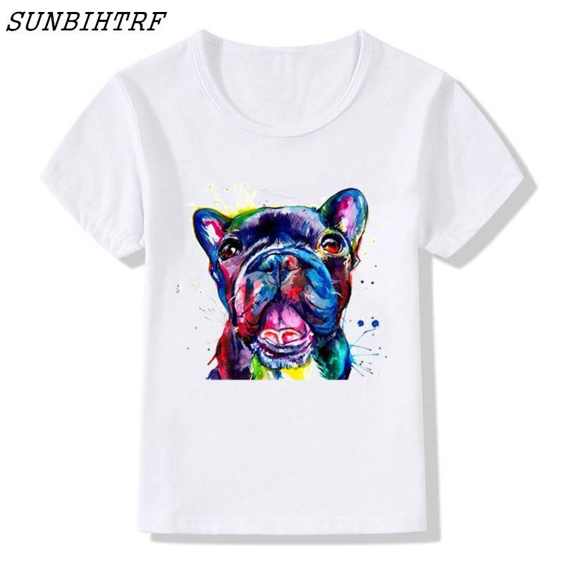 New 2018 Fashion Summer Children Print French Bulldog Creative Design T Shirt Boys/girls Print T-shirt White Kids Clothes