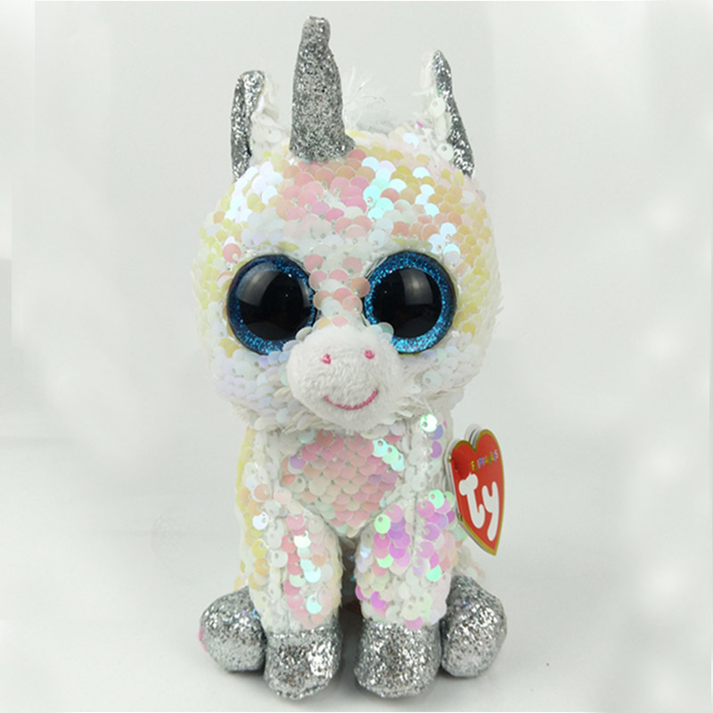 15CM Hot Sale Ty Beanie Boos Big Eyes white sequin Unicorn Lola Dog Lion Bat Alpaca Plush Toy Doll Stuffed Animal Plush Kid Toy
