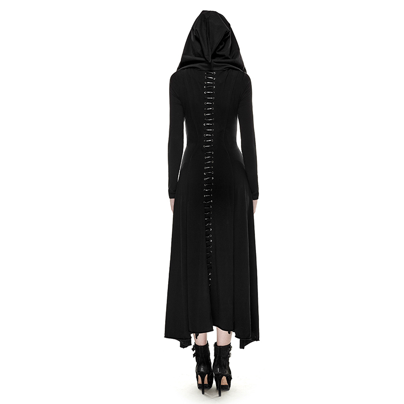 Punk gótico mujeres Retro tejido delgado vestido largo con capucha negro Regular manga noche mujeres vestidos talla grande XXXL-in Vestidos from Ropa de mujer    3