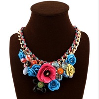PJX European and American Fashion Exaggerated Necklace Hand knitted Rope Flower Necklace Accessories Glow birthday ZYL 007