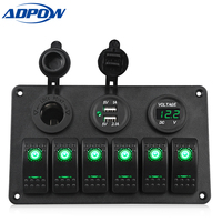 ADPOW 6 Gang Boat Rocker Switch Panel Dual Usb Car Charger 12V Voltmeter Auto Boat Marine Cigarette Lighter Led Car Switch Panel