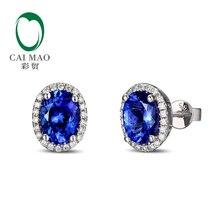 14k White Gold 3.12ct  Violetish Blue Tanzanite & Natural Diamond Engagement Earrings Stud