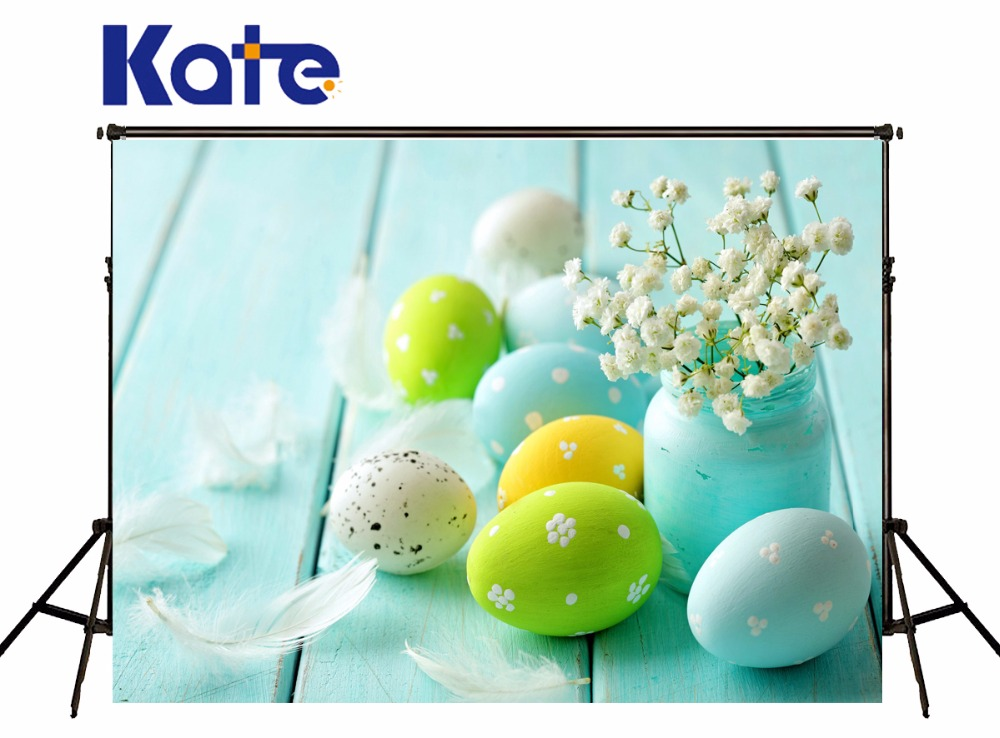 Kate Easter Green Screen Photographic Background Wooden Photography Studio Backgrounds Colorful Eggs Children Photo Backgrounds