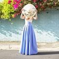 2017 Estilo de Primavera y Verano Faldas Largas Para Mujer Lolita Palabra de Longitud Tafetán Plisado Falda de Cintura Alta Drapeado Falda Maxi Por Encargo