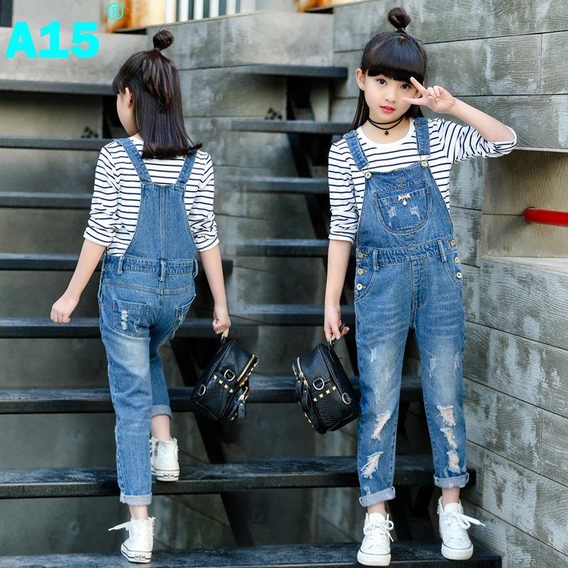 d06b6a6562da A15 Spring Hole Ripped Jeans for Girl Kids Clothing Denim Jumpsuit Overall  Jeans Garcon Clothes Children Trousers Age 4 8 9 Year-in Jeans from Mother    Kids ...