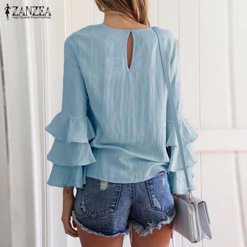 HTB1ZqyQOVXXXXahaVXXq6xXFXXXo - Women Blouses Shirt Elegant Ladies O Neck Long Flare Sleeve