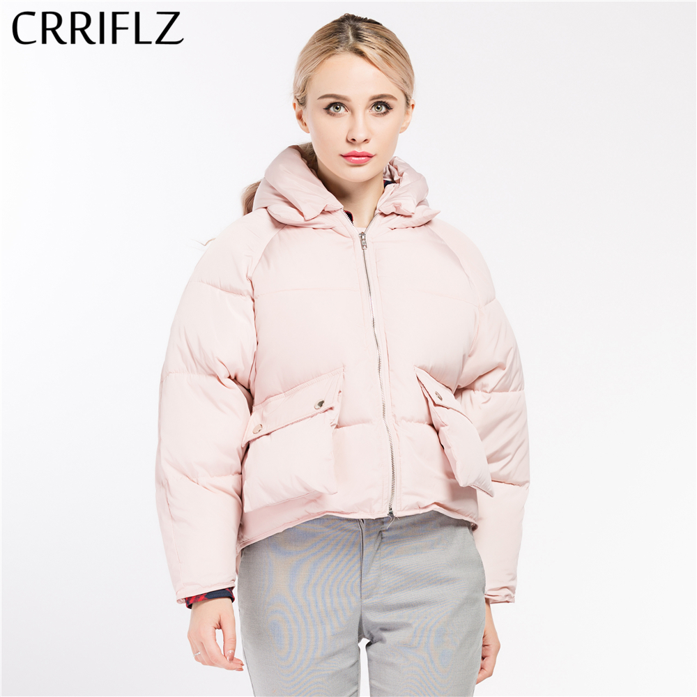 CRRIFLZ Autumn Winter Collection Hot Women Coat   Basic     Jacket   Woman Short Hooded Bread Parkas Warm Winter Coat Women