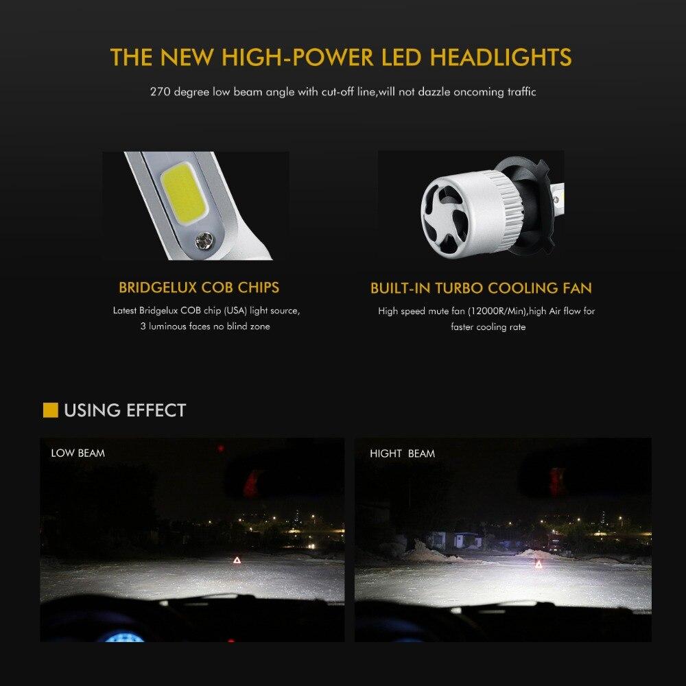 Auxmart H4 Hi-Lo Beam LED Bulb For Nissan Maxima Pathfinder Livina Car 72W 8000LM 6500K COB Chip LED Headlight Bulbs Car Light