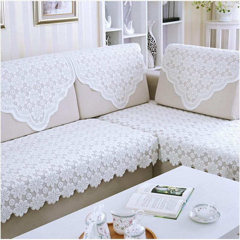 1pcs White Lace Sofa Towel Sofa Mat Backrest Armrest Cover