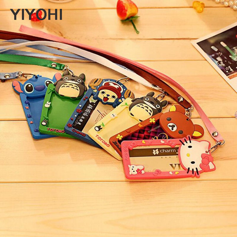 YIYOHI Cartoon Totoro Hello Kitty Bank Credit Card Holders Unisex Silicone Neck Strap Card Bus ID Holders Identity Badge Lanyard hot portable silicone bus card case holder cute cartoon kitty cat care student id identity badge credit cards cover with lanyard