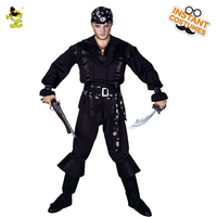2018Hot Sale Black Pirate Costume Dress Up Pirate Clothes In Halloween Party Masquerade Pirate Cool Black