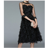2019 Spring Summer Women Vintage Evening Party Dresses A Line Fashion Tassel Dress O Neck Black Elegant Dress Female