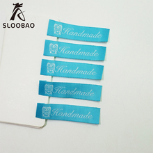 100 PCs Handmade Cotton Woven Printed Labels Clothes Garment Tags DIY Scrapbooking Craft Sewing Accessories
