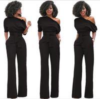HOT Women Ladies Clubwear Playsuit Bodycon Oblique Collar High Waist Wide Leg Romper Pants Jumpsuit With