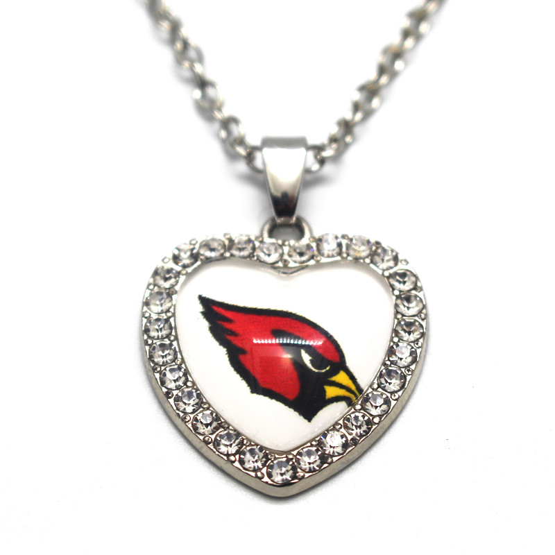 1pcs 50cm Chain Necklace Silver Heart Crystal Football Arizona Cardinals Glass Pendant Necklace For Women Long Necklace Jewelry