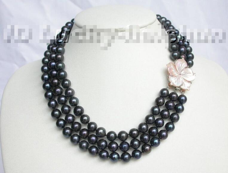 Livraison gratuite vente chaude femmes de mariée bijoux de mariage > > véritable 10 mm 3row rond noir collier de perles coquillage