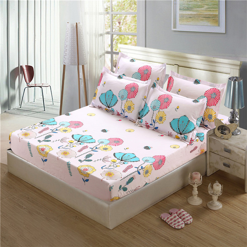 Single Double Bed Fitted Bed Sheet Bedding Set For Children Adults Polyester Sheet Pillowcase Sets Bed Linens XF339-22