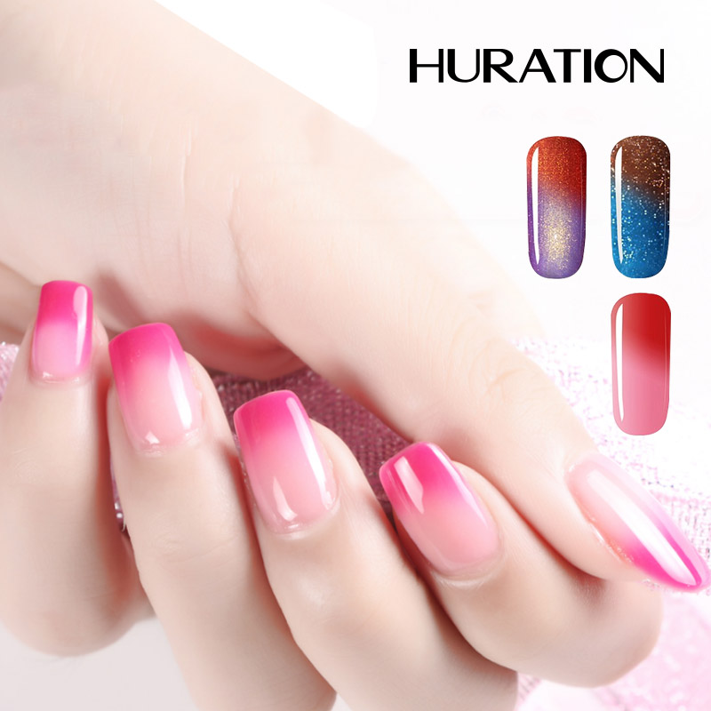 Huration Lucky Temperature Change Color Gel Nail Polish Enamel Semi Permanent 29 Colors Chameleon 7ML UV Nail Polish Gel Varnish