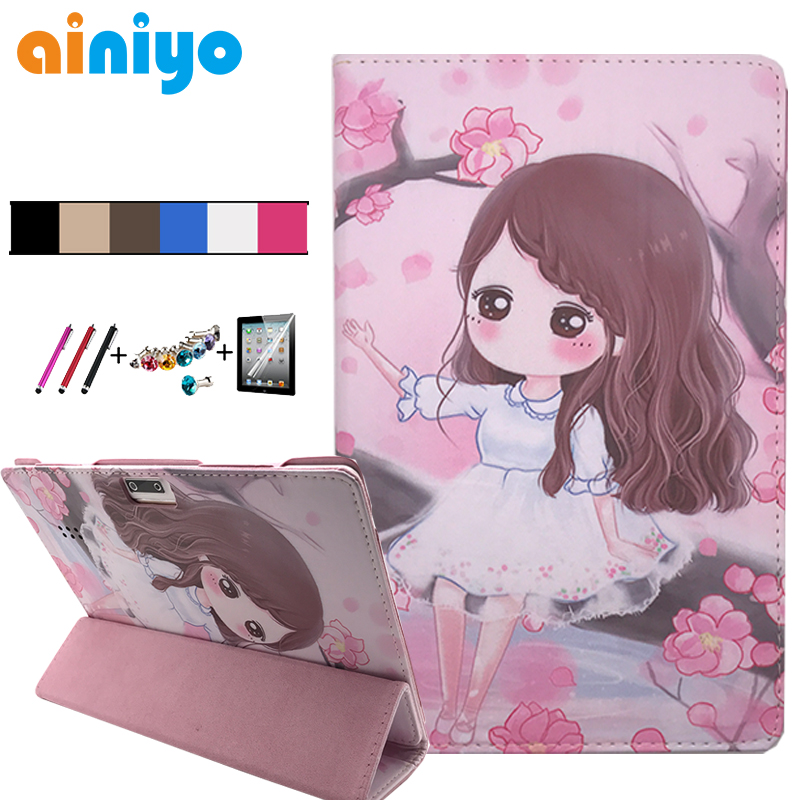 Cartoon PU Leather Stand Case for Digma CITI 1532 1508 1509 1510 3G 4G 10.1 inch Tablet Folio Cover + flim touch pen fashion 2 fold folio pu leather stand cover case for digma citi 1508 4g 10 1 tablet pc colorful color have in stock