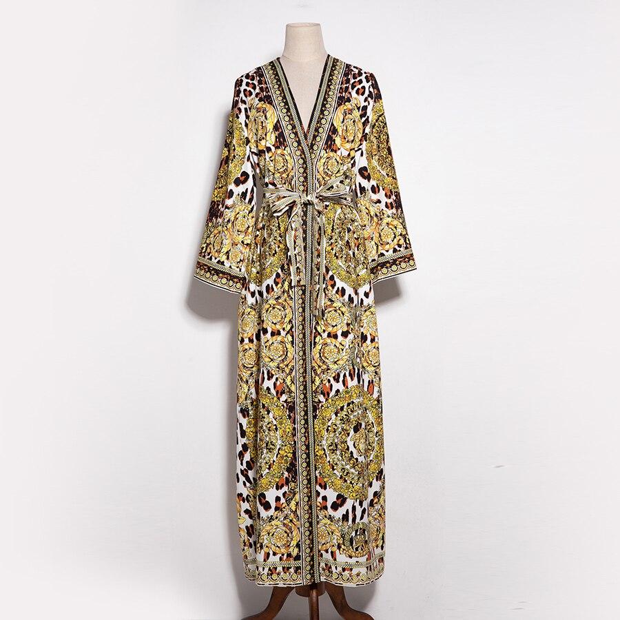 Robe Vintage Xxxl Hiver Robes Femmes La Maxi Mode Ceinture Cardigan Longue Split Léopard De Plus Automne Imprimé Taille 2018 Aeleseen qOwSxazvw