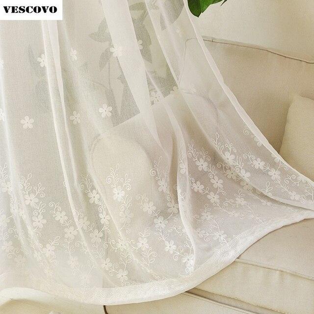 geborduurde gordijnen maat witte kleur damast ontwerp voile raam screening drape haak buis stijl tulle