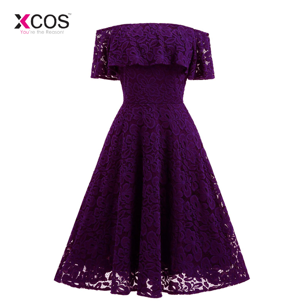 New Purple Lace   Bridesmaid     Dresses   2019 Strapless Short Sleeve Tea Length Wedding Guest Party Gowns Custom Made