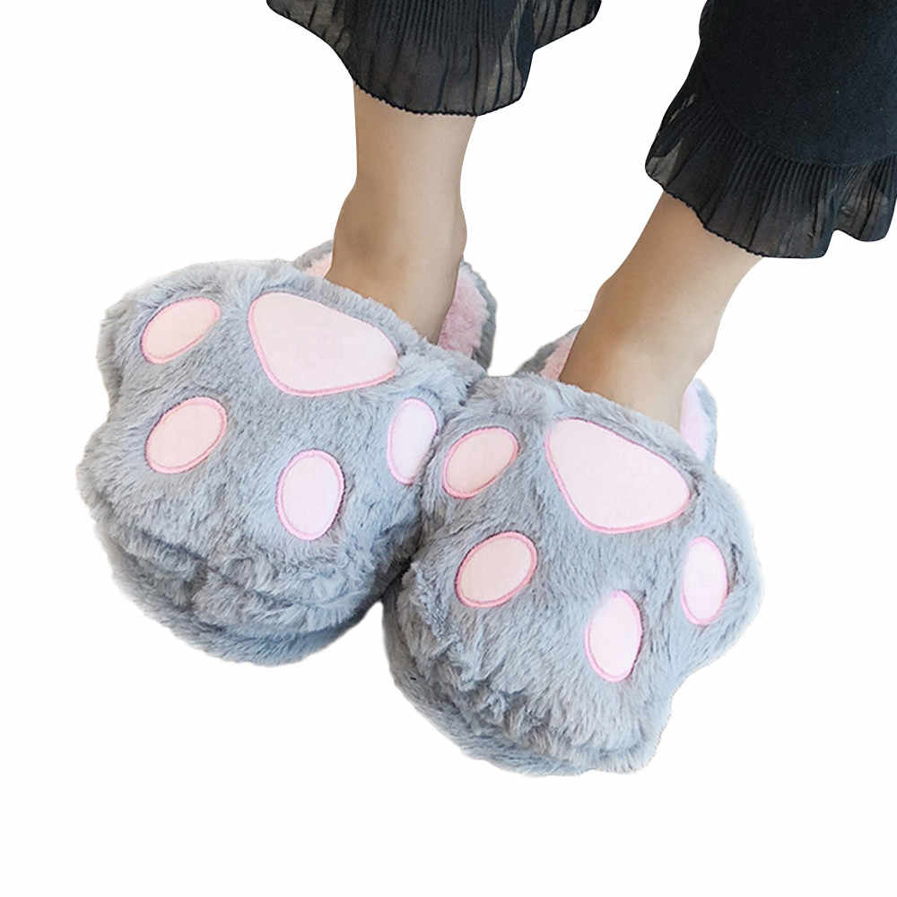 d60b6c67516 25cm Women home shoes Bear Paw Slippers Flip Flop Cute Animal Paw Plush  Home Slippers Warm