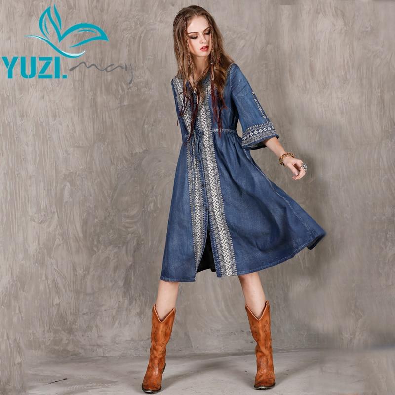 Autumn Dress 2017 Yuzi may Boho New Denim Women Dresses V Neck Half Sleeve Loose Embroidery