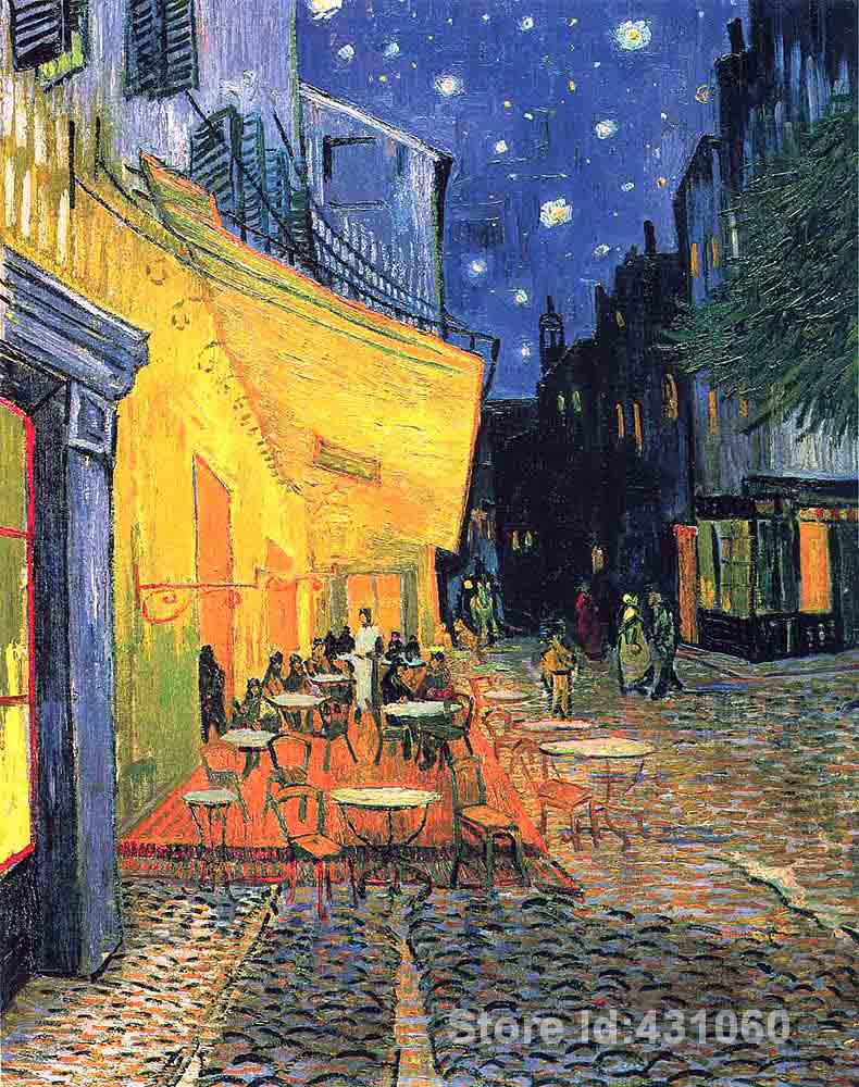 Famous cafe painting - Reproduction Art Paintings Vincent Van Gogh Oil On Canvas The Cafe Terrace Famous Artwrok High Quality